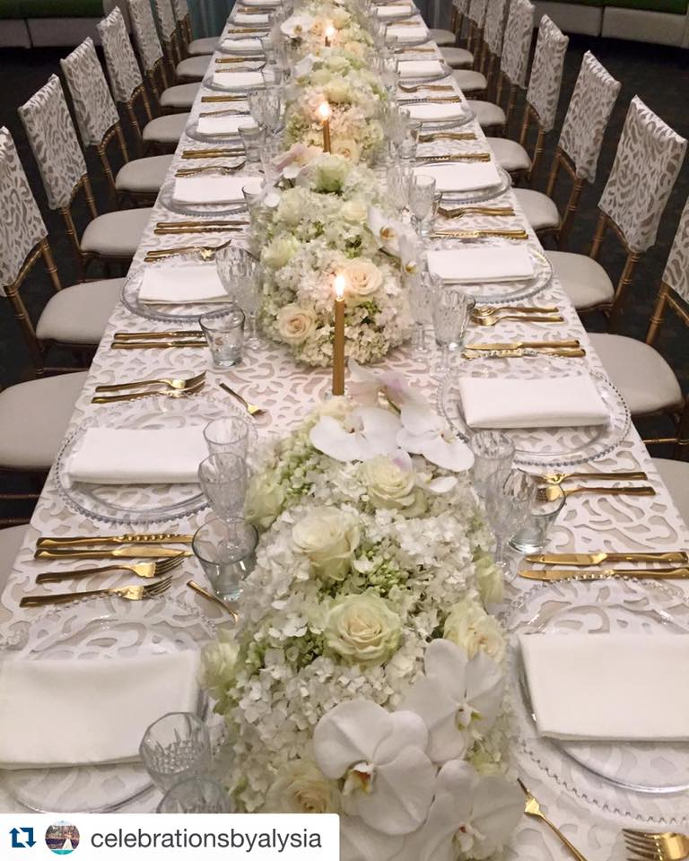Preston Bailey Luxury Linen Collection - White Iris tablecloth and chair caps, crystal cut glass ware and gold cutlery.jpg