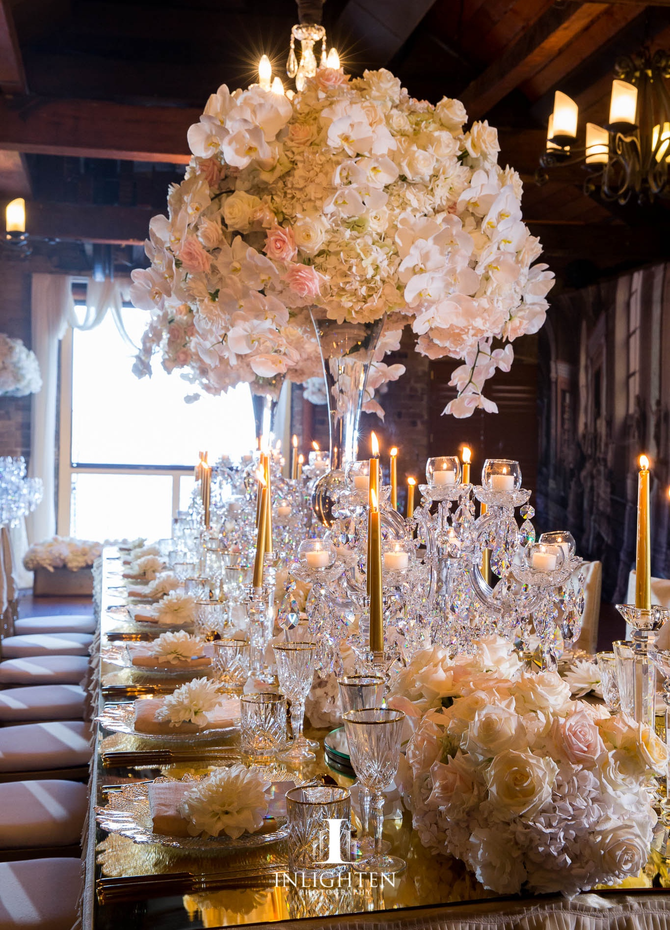 Crystal glasswear_Centrepiece_Crystal vase_crystal_cut_candlesticks_gold candles.jpg