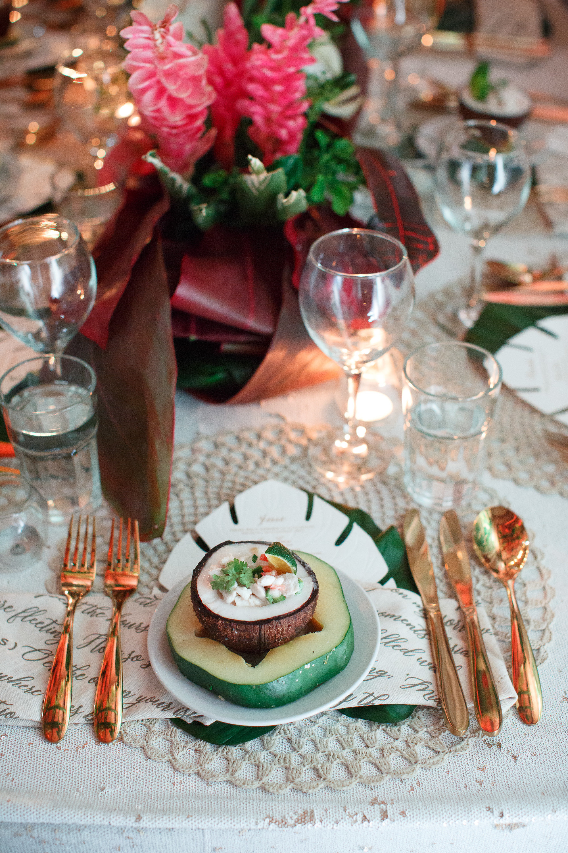 Fiji wedding - macarame placemat, 5 piece gold cutlery, mini koi luxury linen, centrepieces.jpg