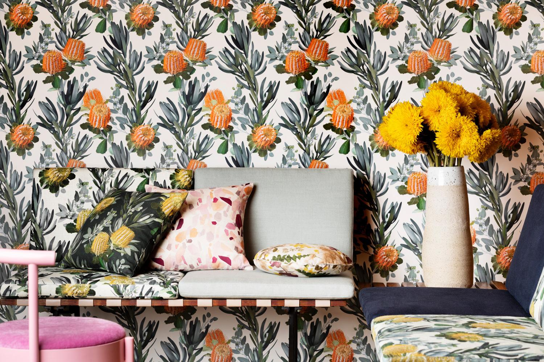 Louise Jones Scarlet Coral light wallpaper
