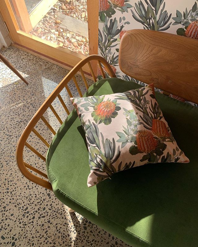Missing those rays of warmth 🌝 The green velvet from our vintage #ercol Studio sofa matching perfectly with the Scarlet pattern foliage. ⠀ ⠀ All Scarlet cushions are now sold out but looking to place another small order. Get in touch if you would like to place a preorder 🧡 ⠀ ⠀ #homedecor #homedecoration #homestyle #homestyledecor #scattercushions #cushions #patternedfabric #floralfabric #bebold #bolddesign #botanical #florals #textiledesigner #patterndesigner #australiandesign #australianhomes #australiandesigner #louisejones #louisejonestextiles #vintagefurniture