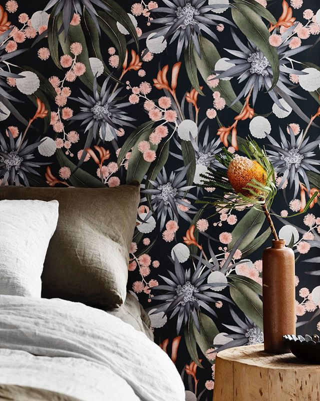 STELLAR 💗 dress your walls with a mass of gum leaves, acacia blossoms and the distinct star-like flower of the Blue Devil painted softly in watercolour. Now officially available in wallpaper through @stylerevolutionary⠀ ⠀ Photography @gemmola and styling @ruthwelsby⠀ ⠀ #wallpaper #wallpaperwednesday #homedecor #pattern #stellar #bedroominspo #bedroomwallpaper #interiors #interiordesign #interiordecorating #interiorstyling #floral #homedecoration #australiannatives #textiledesign #melbournedesign #australiandesign #textiles #printedtextiles #colourcrush #linen #fabric #wholesaleinteriorproducts #australianinteriors #textilelovers #handmade #australianinteriordesigntrade #contemporarytextiles