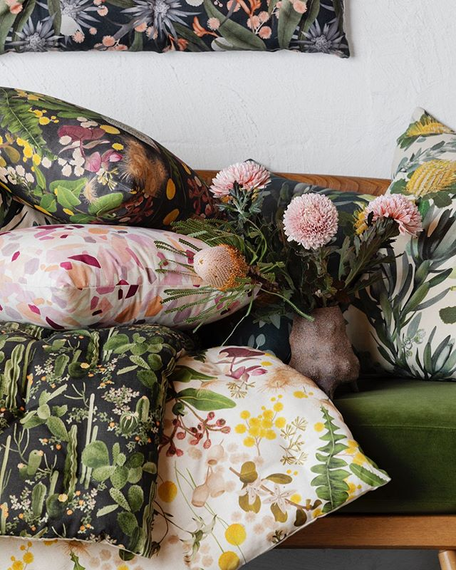 Florally fun for you this Thursday evening 🌸🌼🌿loving how snug the @bridgetbodenham vase looks amongst all the cushions. Shot and styled by the dazzling duo @ruthwelsby and @gemmola ✨⠀ ⠀ Link in bio to view the ready-made soft furnishing range available online. A restock order soon to be placed for the sold out Scarlet range, get in touch if you'd like a cushion put aside for you. ⠀ ⠀ Photography @gemmola styling by @ruthwelsby ✨⠀ ⠀ #banksia #banksiacoccinea #homedecor #pattern #cushions #floormat #textilelove #printedtextiles #colourcrush #cushionstyling #cushionlove #interiors #interiordesign #interiordecorating #interiorstyling #floral #homedecoration #homestyle #australiannatives #textiledesign #patterndesigns #melbournedesign #australiandesign #louisejones