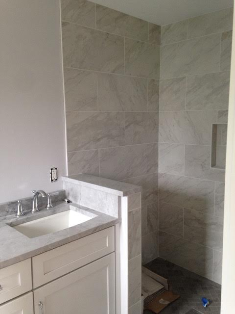 After: updated marble shower
