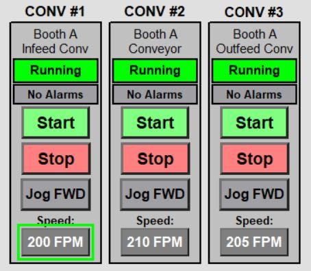 Notice the green box highlighting the speed input of CONV #1.