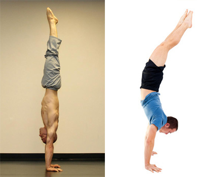 Straight vs. Arched Handstand. Image courtesy of Yuval Ayalon.