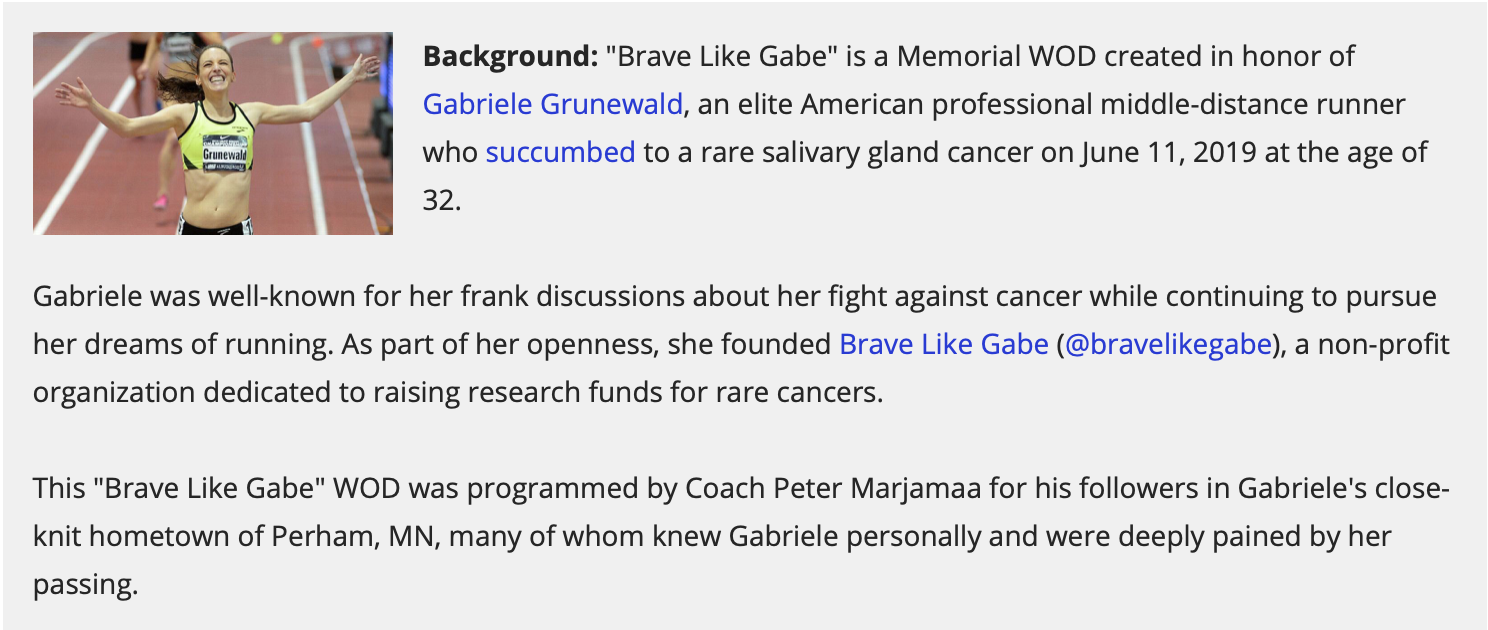 """Brave Like Gabe"" Hero WOD"