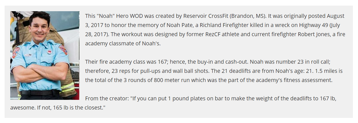 "Hero WOD ""Noah"""
