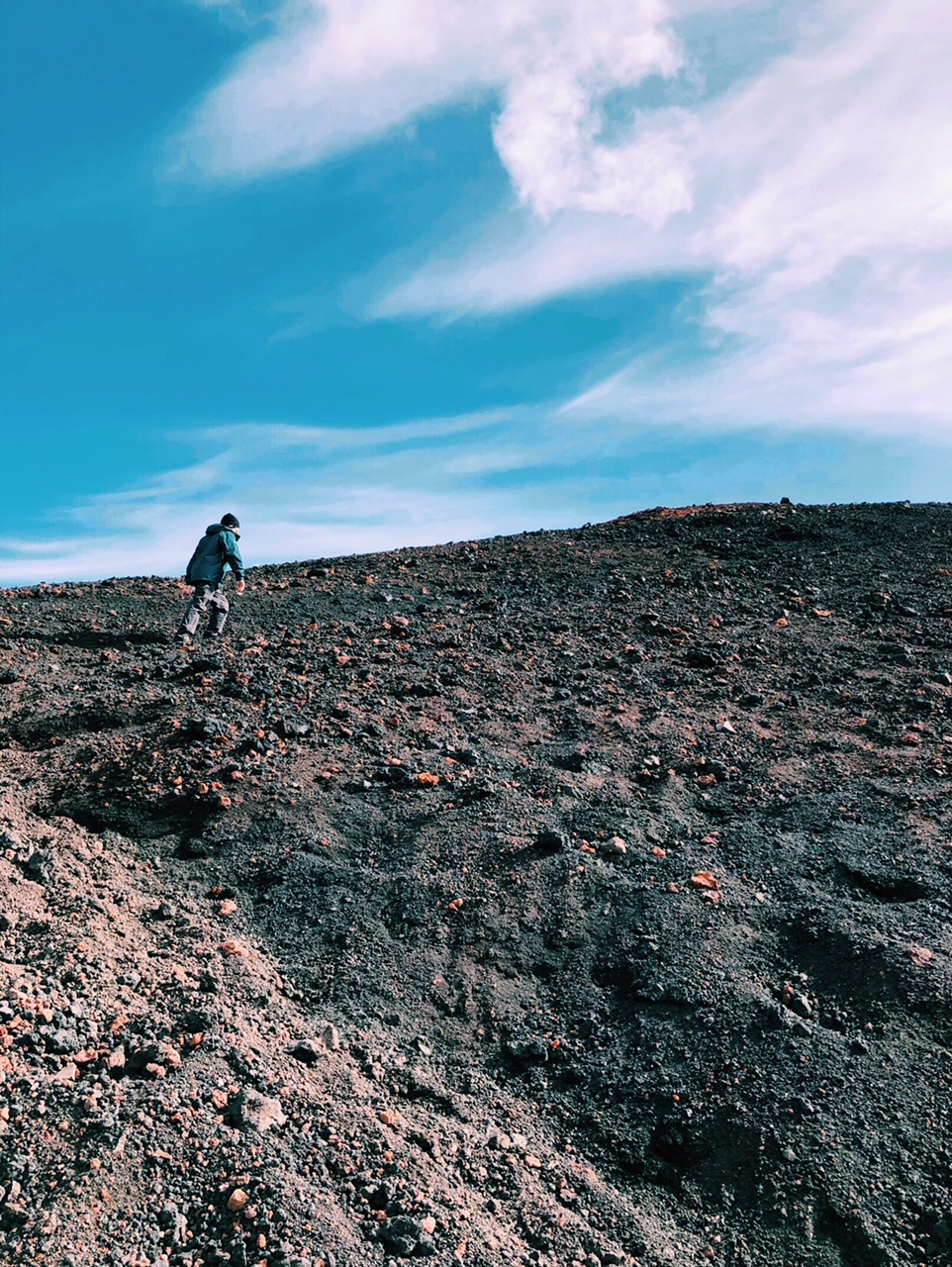 hiking a volcano