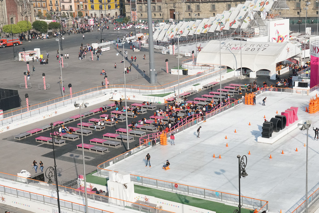 The view of the ice rink on the Zocalo from the Gran Hotel de Mexico.