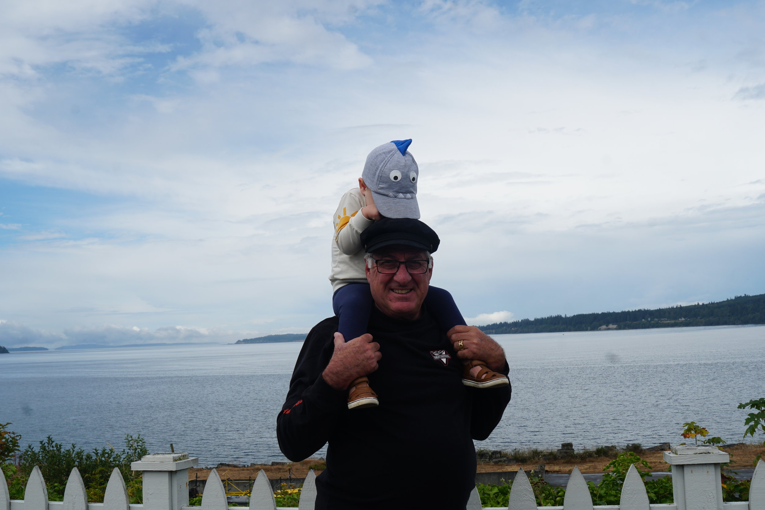 Paul and Rufus in Port Gamble, WA, on the Puget Sound