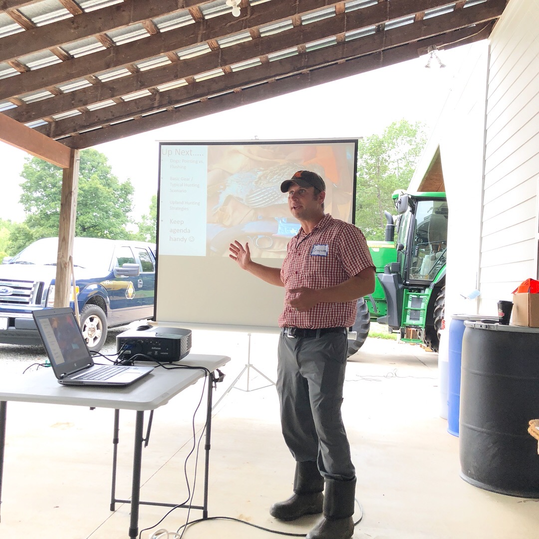 Grayson Guyer leading a session at the first annual Upland 101 seminar, held in partnership with North Carolina Wildlife.