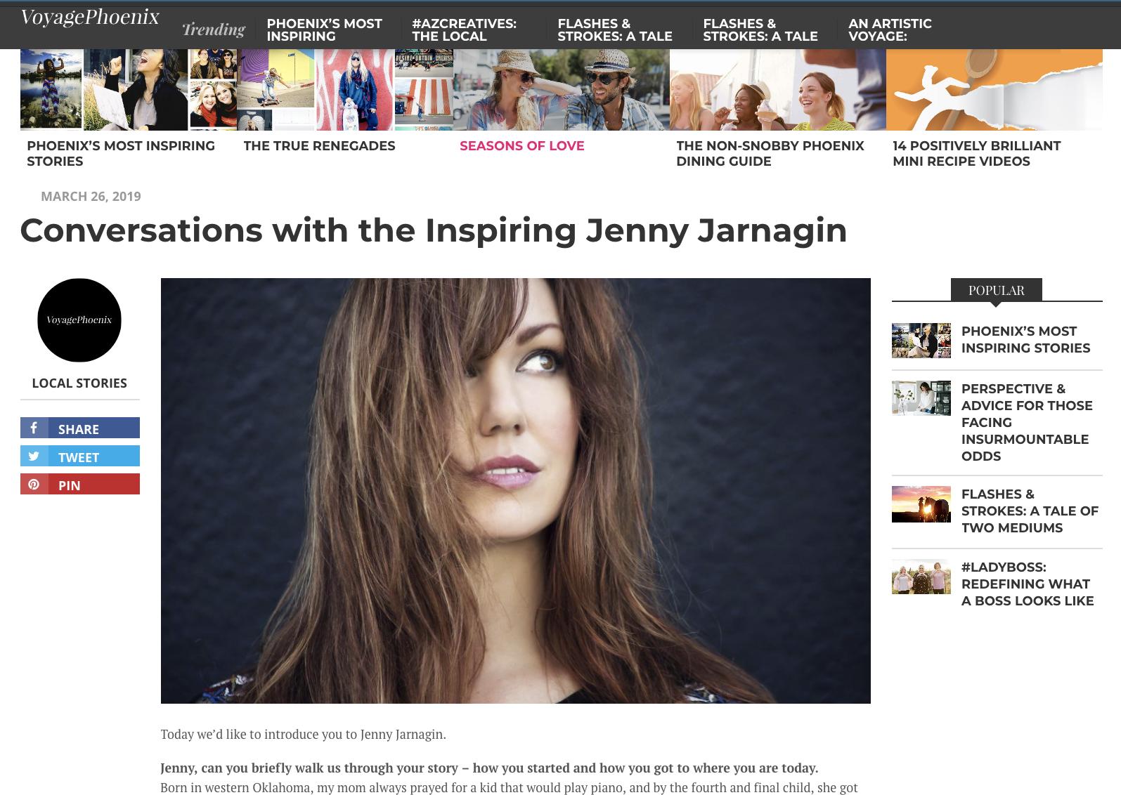 Voyage phoenix - Conversations with the Inspiring Jenny Jarnagin