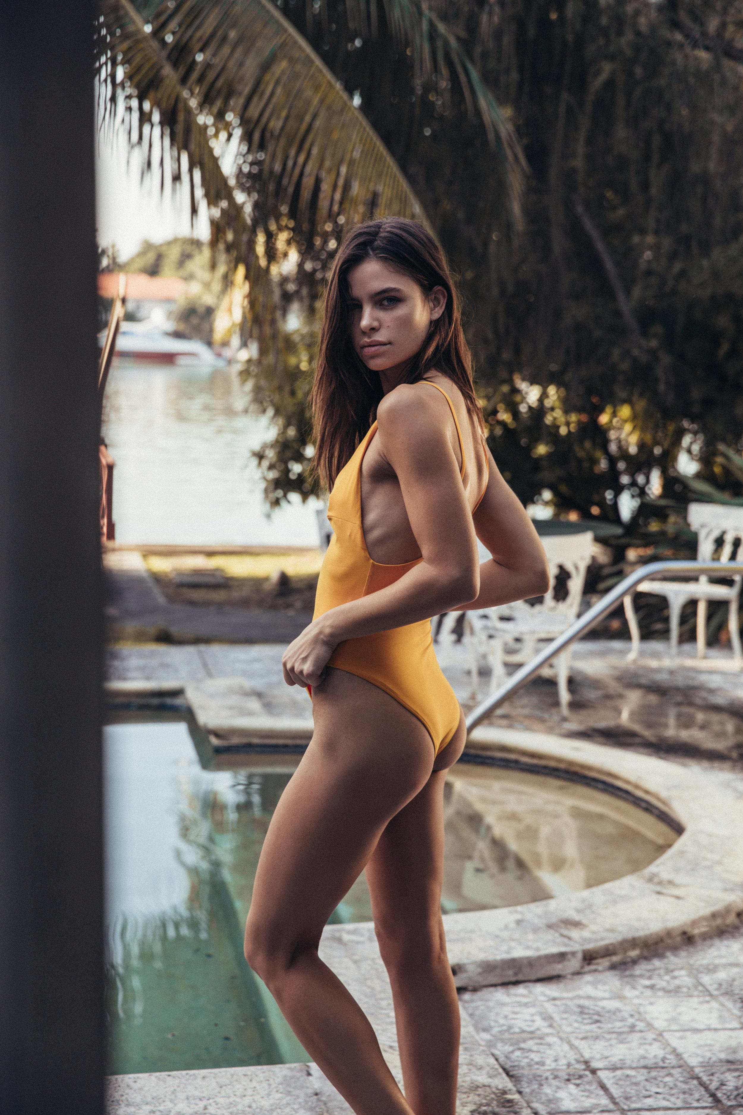 becca lane model airbrush spray tan swimwear photoshoot editorial vogue