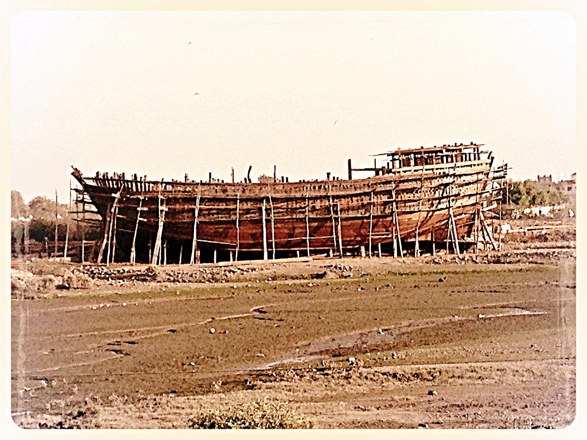 A timber dhow under construction at Mandvi, Gujurat.