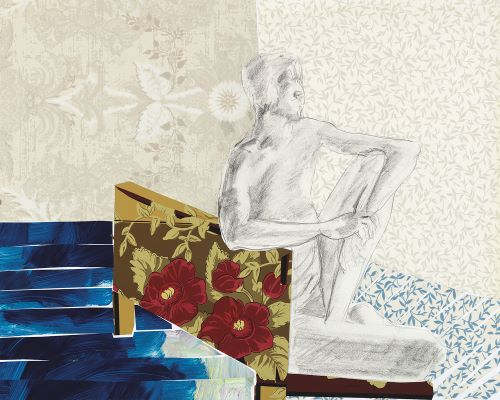 """The Living Room Series  Mixed Media on Paper  24"""" x 18""""  $875"""