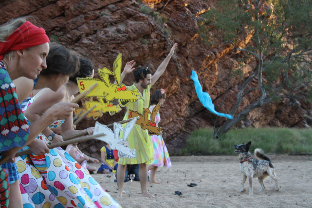 In the riverbed at The Artist Wants A Life Camp, Honeymoon Gap, 2012, Alice Springs.