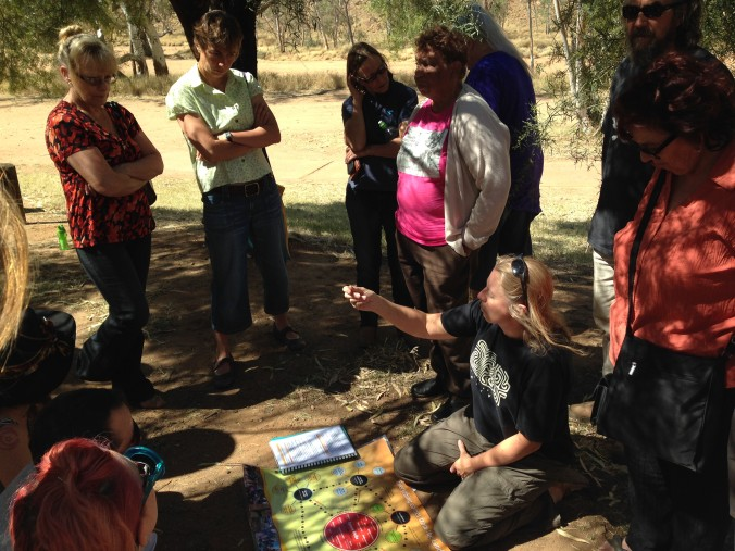'Cultural people', artist and story-tellers from Alice Springs Desert Festival and Free BBQ Cash Giveaway Festival on the sacred sites tour with Doris Stuart, 2014.