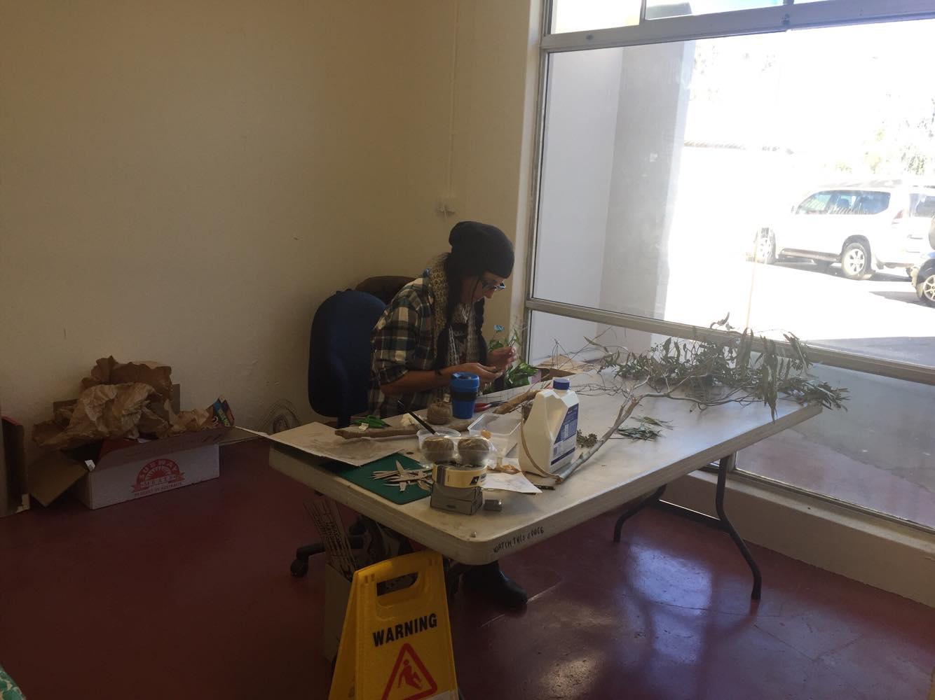 Suzy working in her studio