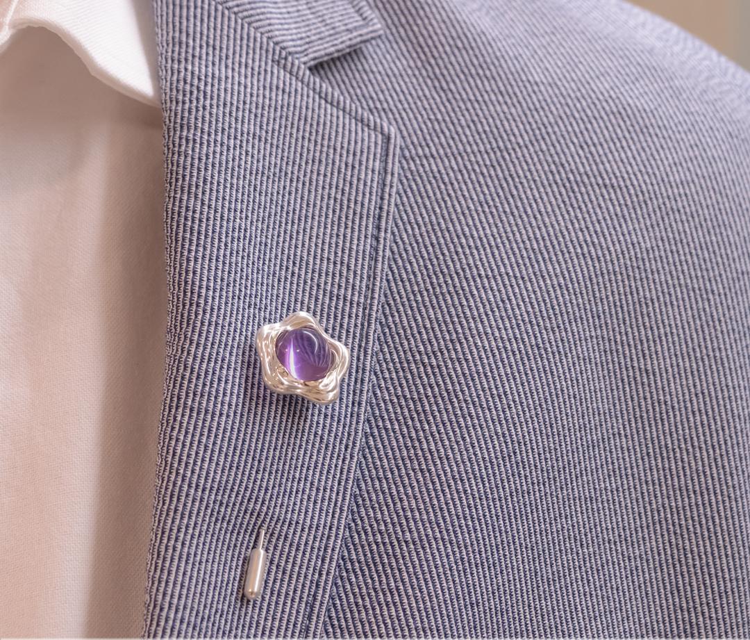 Suffrage 125 Sterling Silver, Amethyst Pin - Men's Lapel