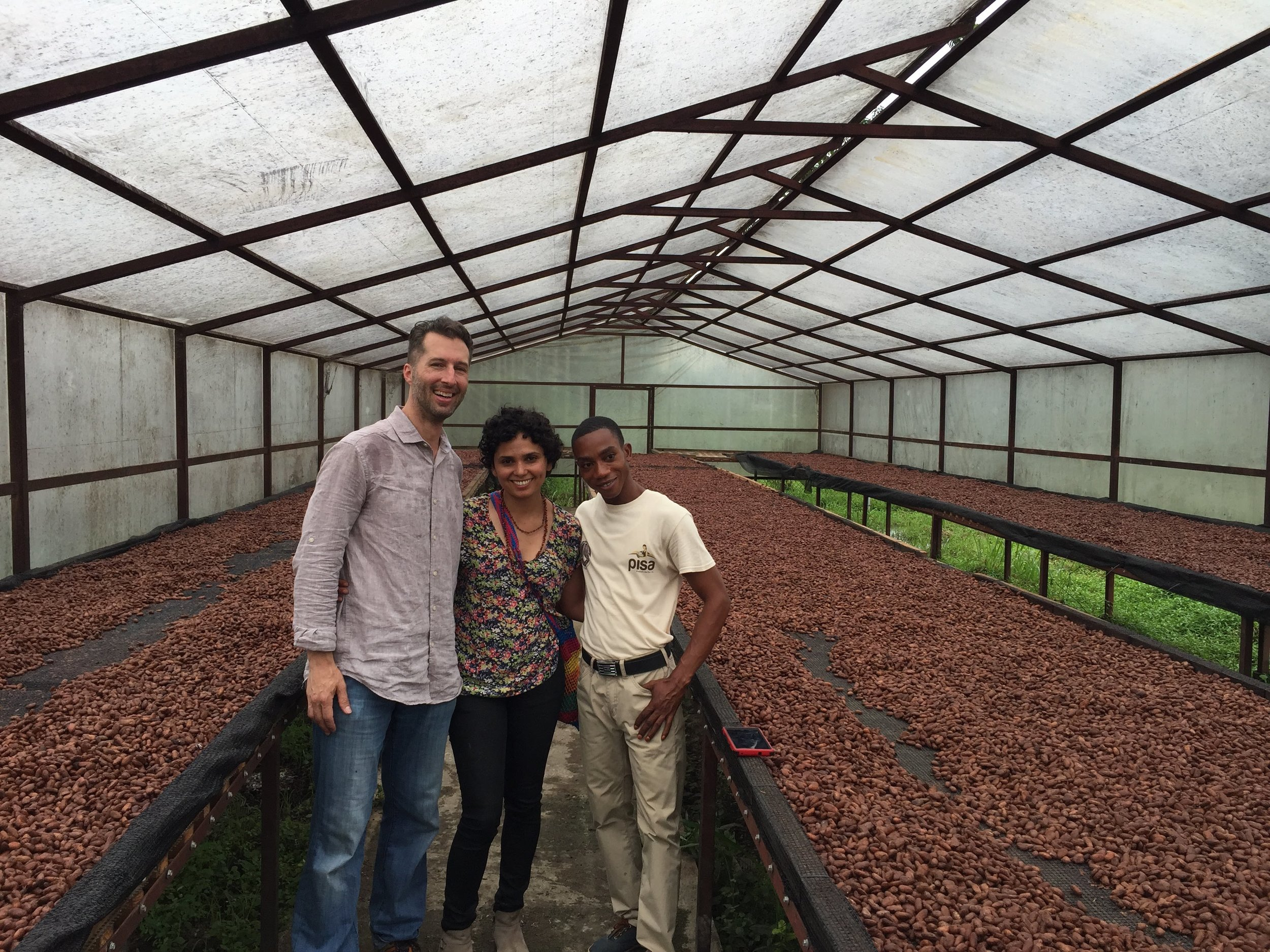 Post-Fermentation - Touring the new drying beds with Chiquito and seeing the care that they put into handling Cacao at PISA in Acul du Nord, Haiti.