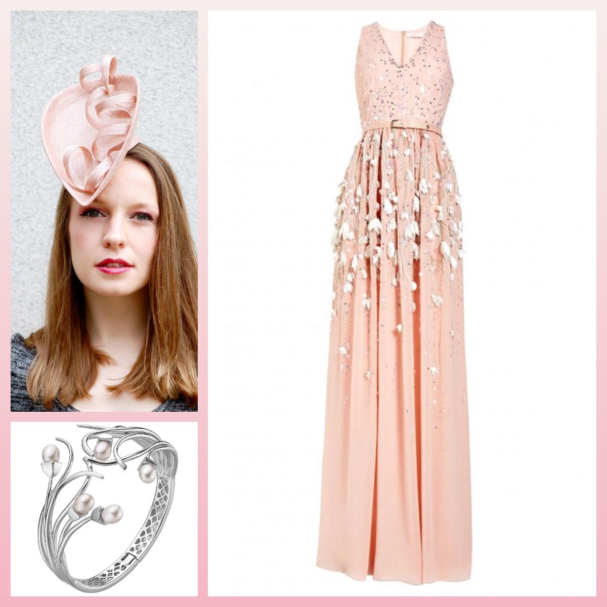 Hat: Aka Tombo Millinery  Dress:Snowdrop Embroidery Evening Gown by Matthew Williamson  Bracelet:Daniel Henderson Jewellers
