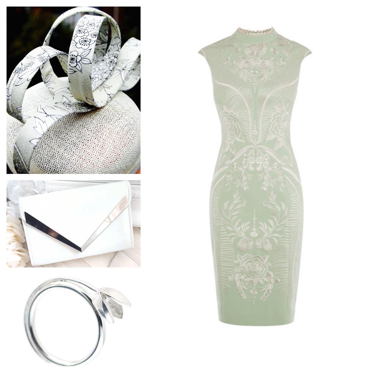 Hat: Aka Tombo Millinery  Dress: Karen Millen  Bag:Milla Patent envelope clutch  Ring: Alex Yule Jewellers