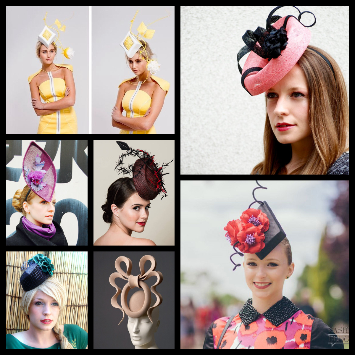 From Top left clockwise: Rebecca Share Millinery,Aka Tombo Millinery, Alexandra Guy Millinery,Steven Jones, Aka Tombo Millinery, Milli Starr Millinery.