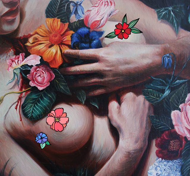 Sneak Peek A detail shot of one of my new paintings for #sanctuaryexhibition . . . Apologies for censoring the nipples, really don't want to be shadowbanned before the exhibition!