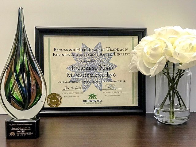 """So proud of our client, @shop_hillcrest for winning a Business Achievement Award with the Richmond Hill Board of Trade especially in """"Conservation and Environmental"""" category.  We're thrilled to be a part of a team where sustainability and environmental responsibility are core values.   #HelloHillcrest"""