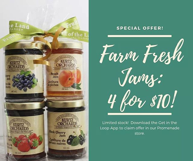 Special offer at our @promenadesc store only via @getintheloopvaughan🙌🏽 __ Farm fresh jams in a variety of flavours: 4 for $10. Perfect gift or take them home for the family!🍑🍒 __ Claim your coupon via @getintheloopvaughan