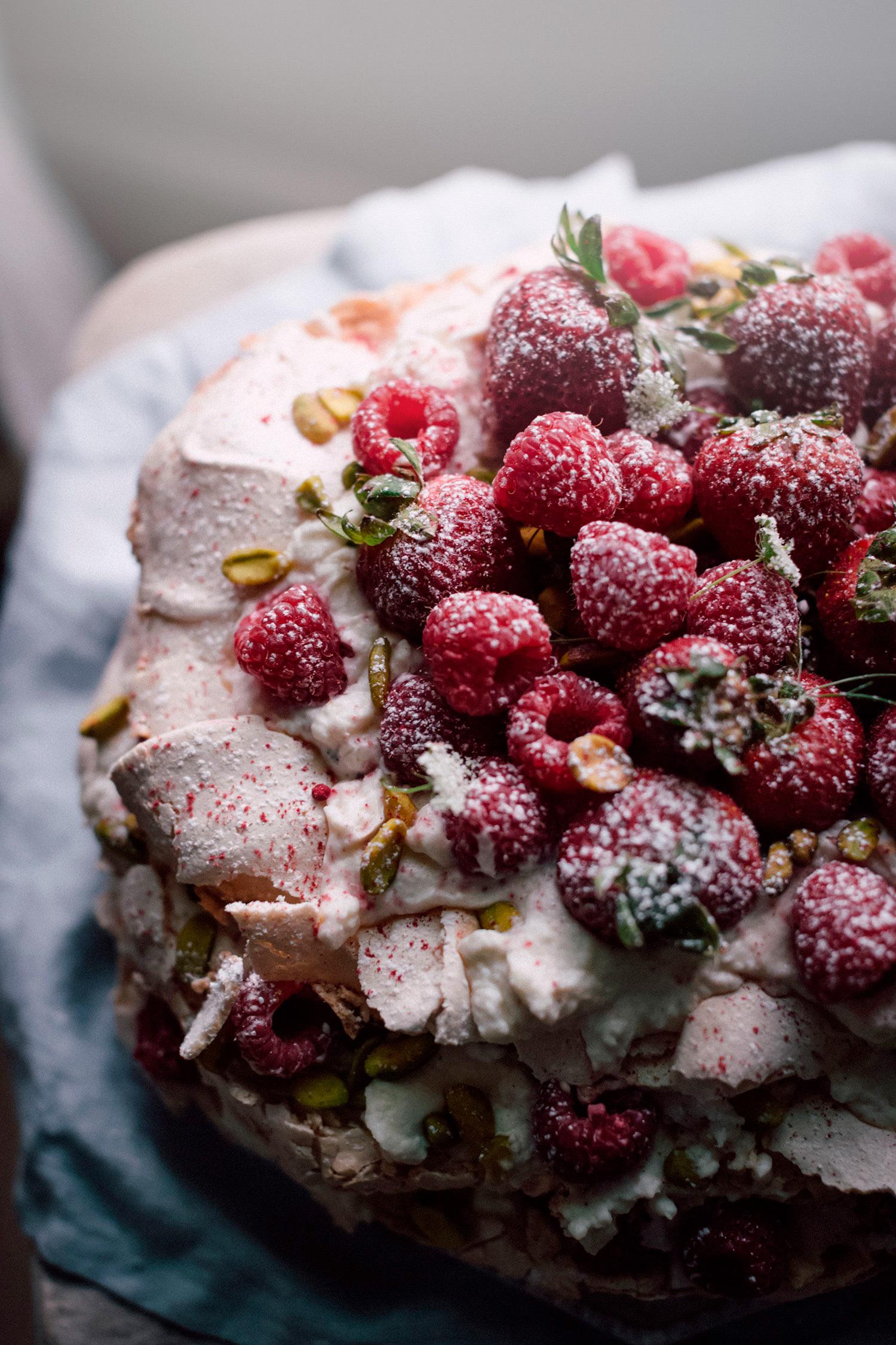 Raspberry Pistachio Pavlova -