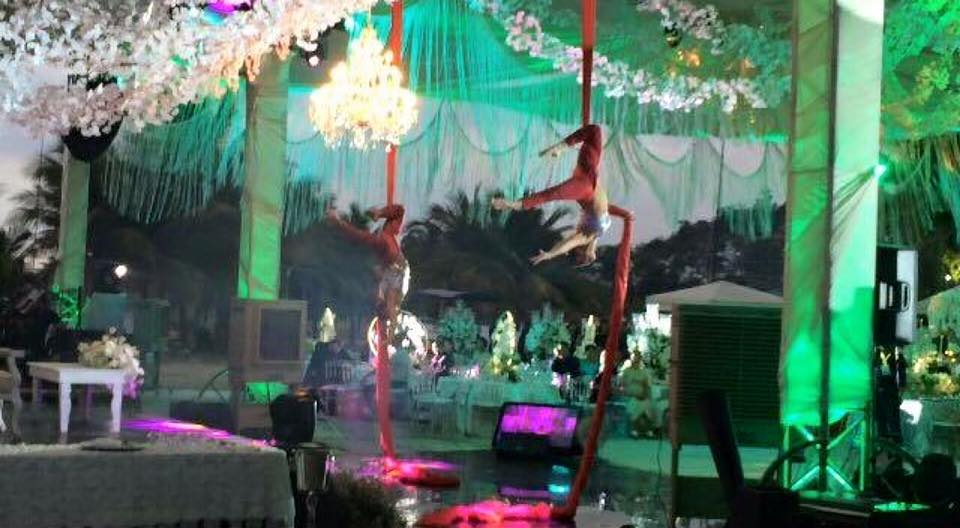 Synchronized Aerial Silks Performance