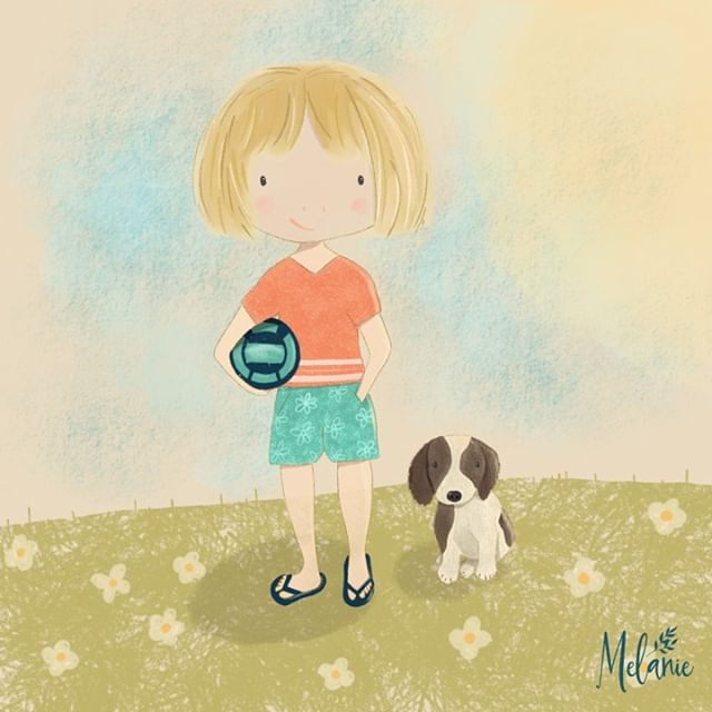 This is my daughter Ava and Bentley our dog (when he was a puppy) xx ⠀⠀⠀⠀⠀⠀⠀⠀⠀ ⠀⠀⠀⠀⠀⠀⠀⠀⠀ #illustration #puppies #kidsbooks #childrensbookillustration #procreate #adobephotoshop #digitalart #digitalpainting #ipadpro #surfacedesign #surfacepattern #artlicensing #licensing #artistsofinstagram #illustration #creativity #creativebusiness #loveforart #creativelife #pattern #surfacepatternprint #surfacepatterndesign #loveofart  #makersdesigners #artistlife #artjournal