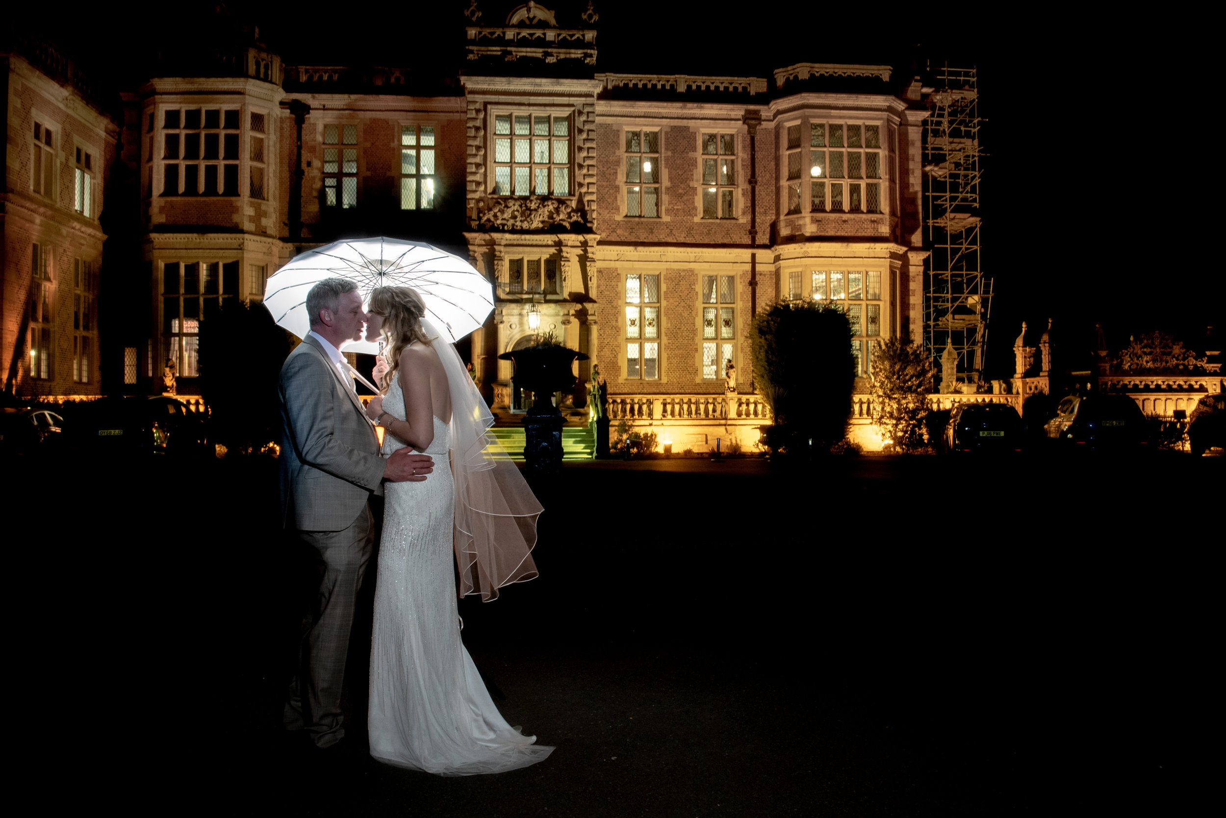 Nighttime photoshoot wedding at Crewe Hall
