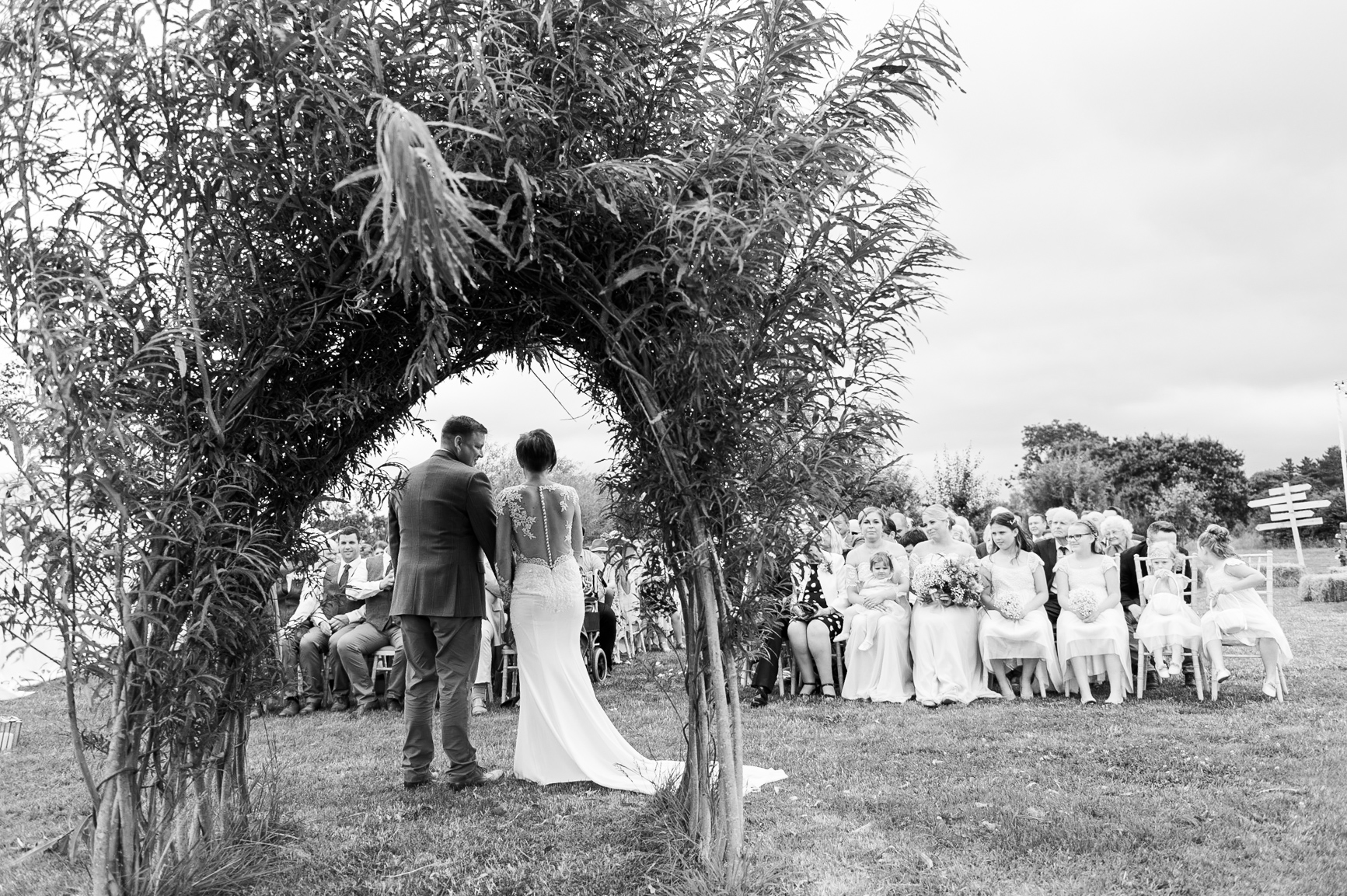 Reverse view of the wedding ceremony