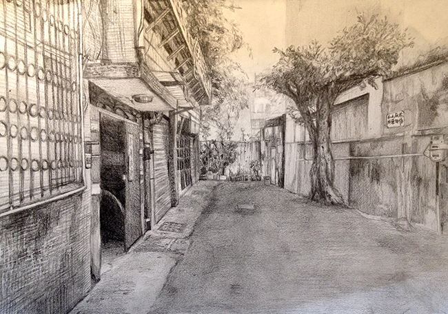 Taipei  street by Evelyn (based on her photographs) Pencil on paper