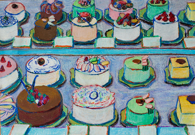 Cake display  by Lina Oil pastel on paper