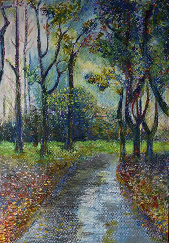 Walk in the park  by Sally Oil pastel on paper