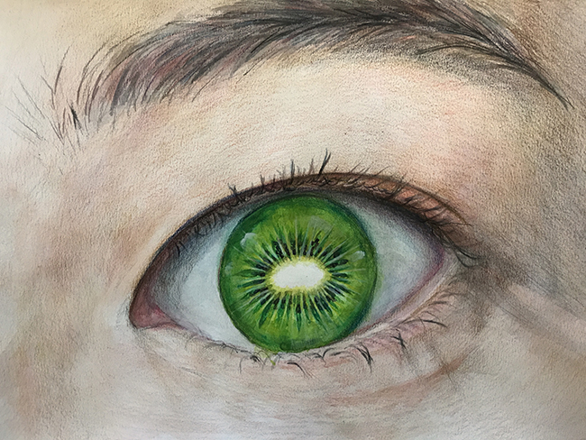 An eye  by Stella Watercolor and color pencil on paper