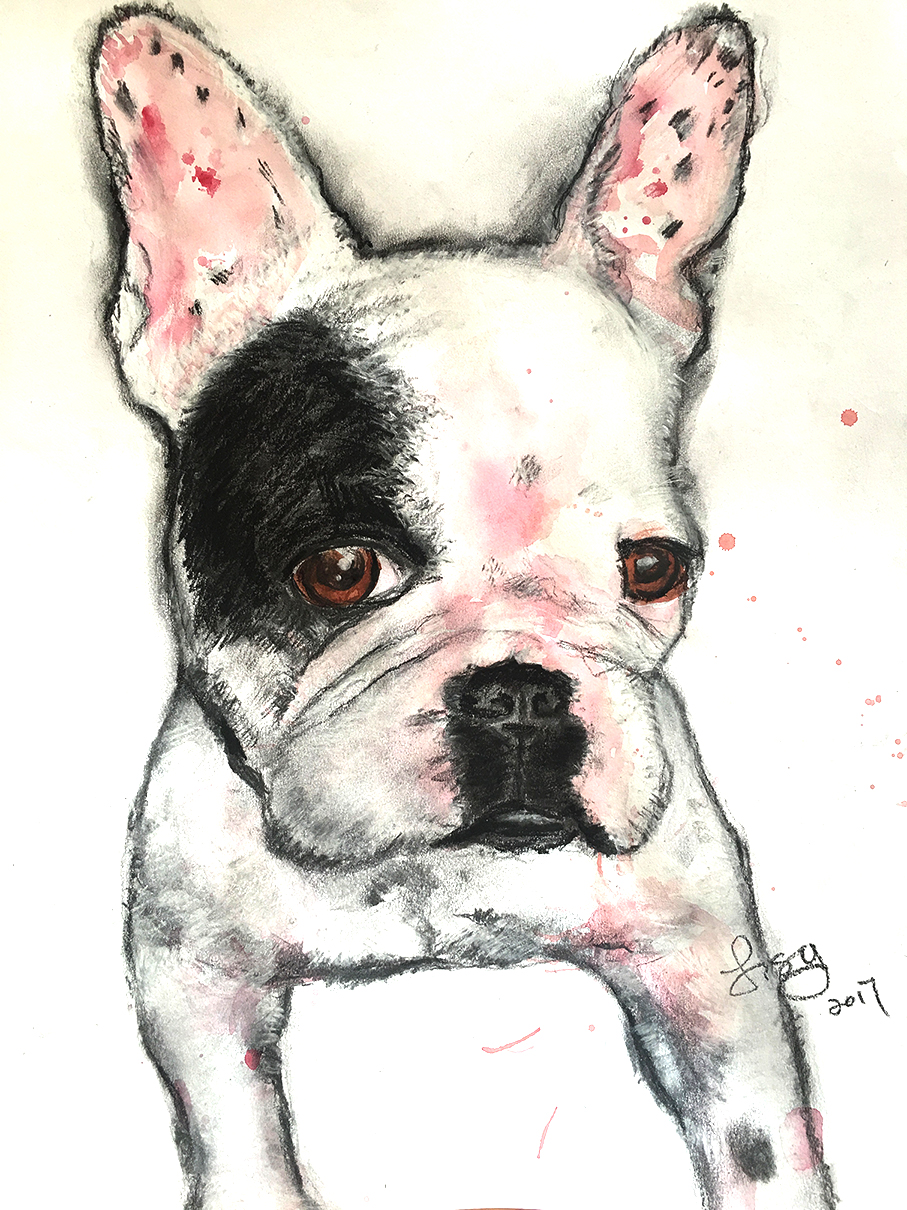 Abby by Lisy Charcoal and watercolor on paper