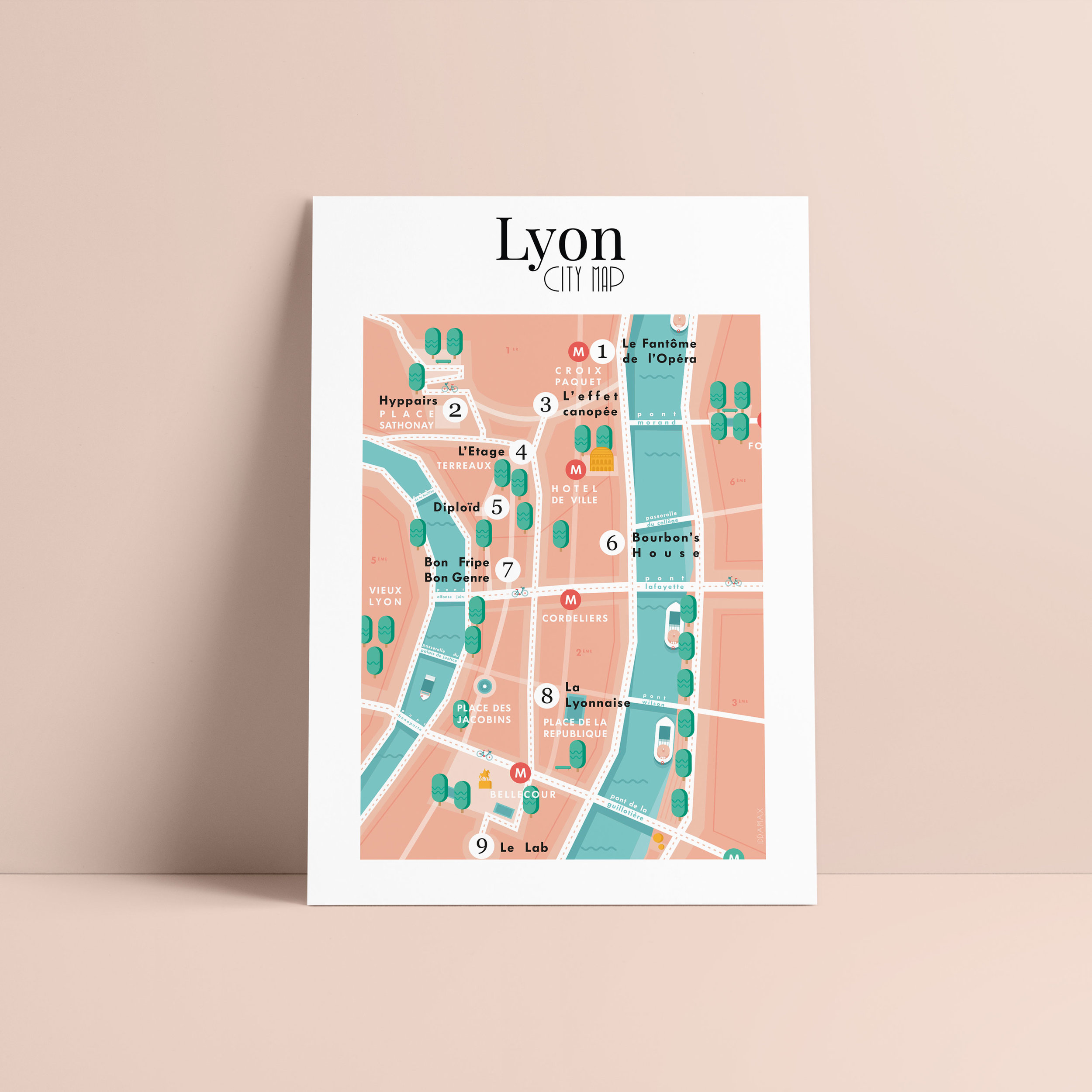 Lyon city Map lancée le 27 Mars 2019. A retrouver dans plusieurs points de la ville de Lyon : hôtels et boutiques.
