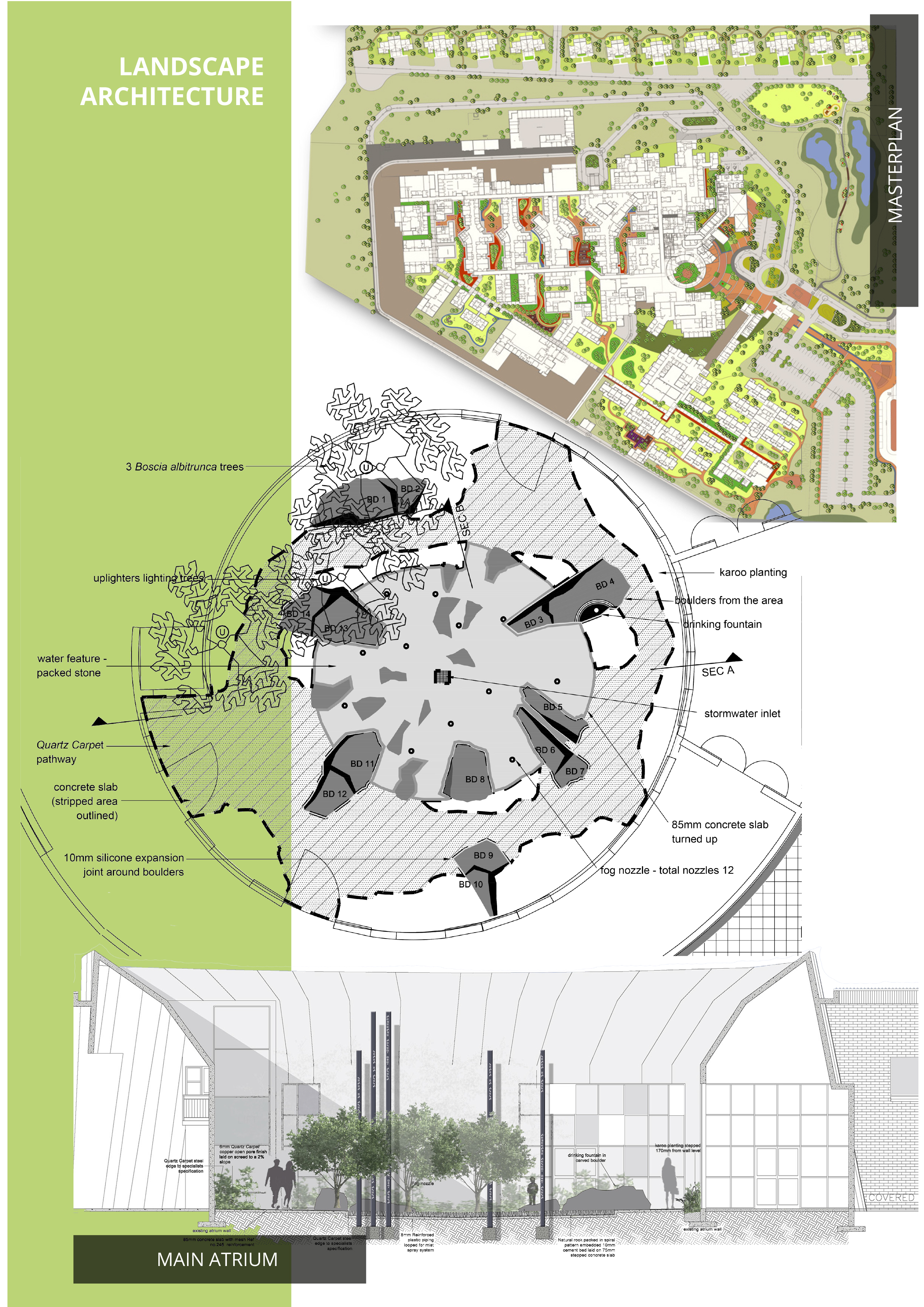 De Aar Hospital - The landscape design approach is contextual, drawing on the landscape, culminating in a product of culture, topography, vegetation, climate and ecological processes. From a landscape perspective we aimed to emulate the natural vegetative response to climatic cycles, which resulted in seasonal variation and reduced maintenance, thereby ensuring a sustainable project.The landscape forms a series of interconnected outdoor rooms that complement existing buildings and answer to the needs of users. The landscape responds to functional aspects of the site and the users. The design seeks to create human-scale therapeutic spaces that contribute to the healing processes that are fundamental to medical institutions. The design replicates and re-establishes ecological systems to increase biodiversity through habitat creation. Such an approach moreover promotes sustainability in terms of implementation and long-term maintenance.