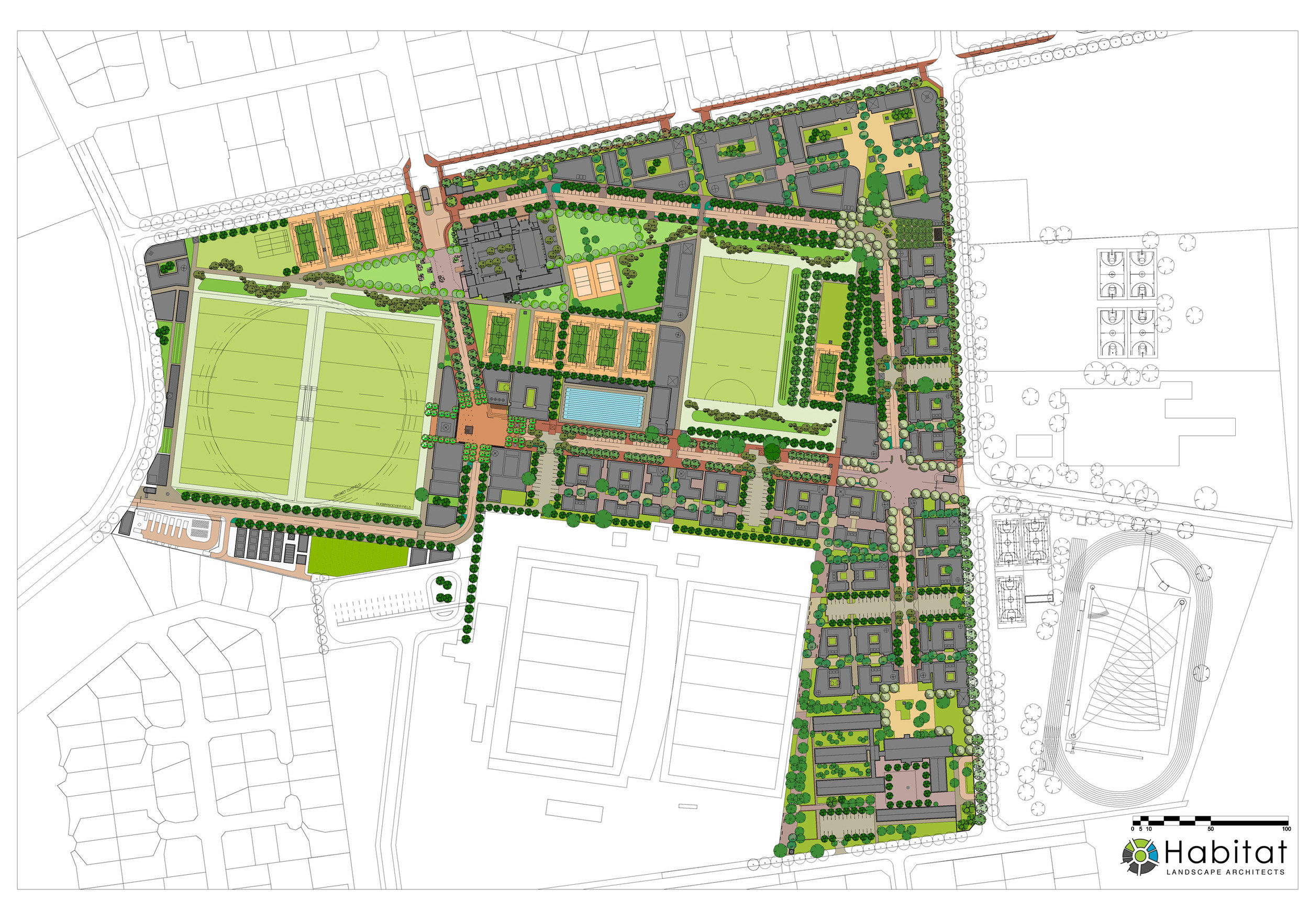 South Campus Landscape Masterplan - expressed on the urban framework by LHA + Ud
