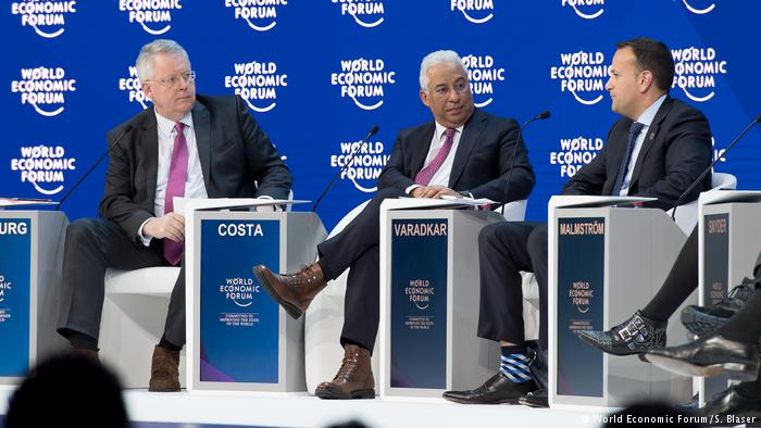 Left to right: moderator Peter Limbourg, Prime Minister Costa, Irish Prime Minister Varadkar. Photo via  DW