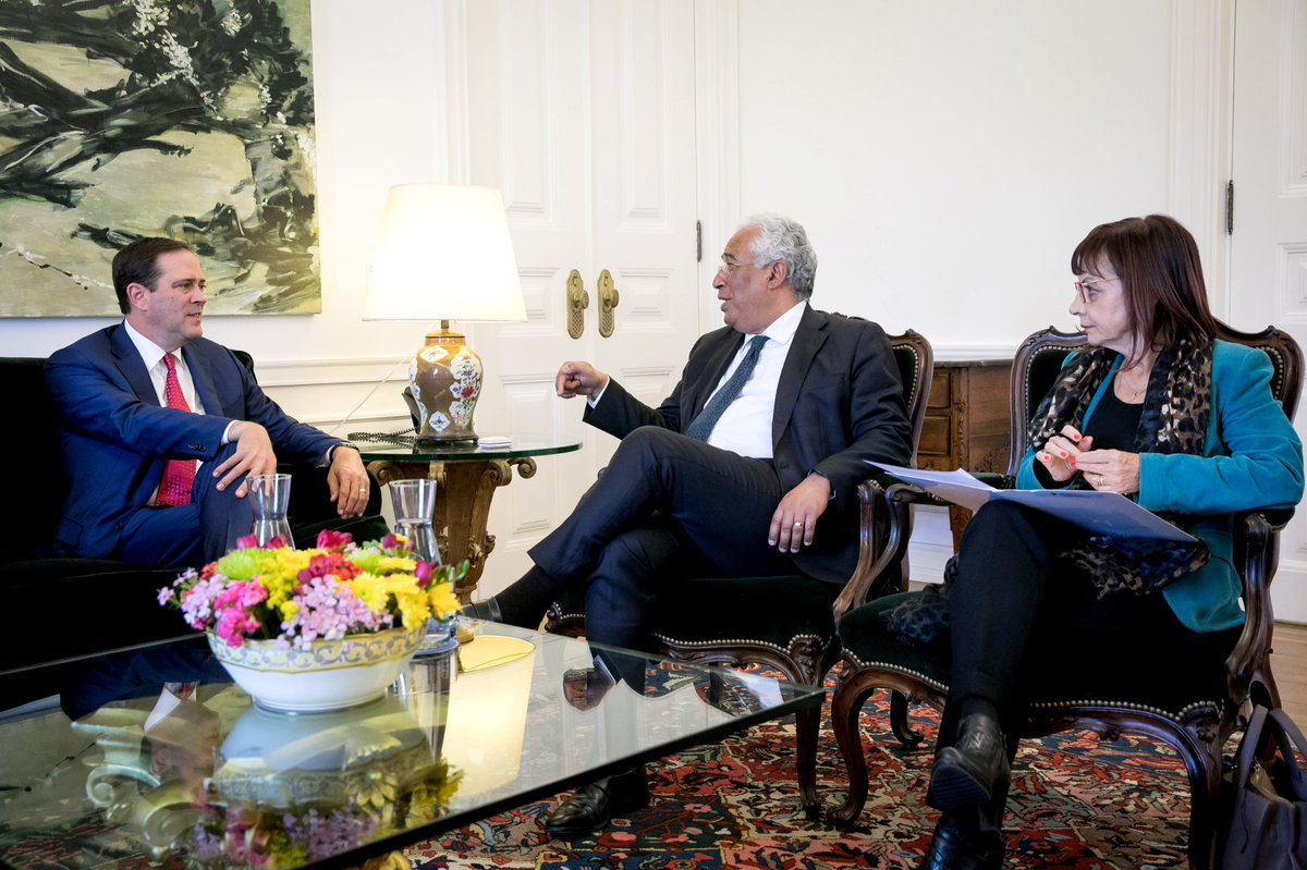 Cisco CEO Chuck Robbins, Prime Minister António Costa, and Minister of Presidency and Administrative Modernization Maria Manuel Leitão Marques. Photo via  GlobeNewswire .