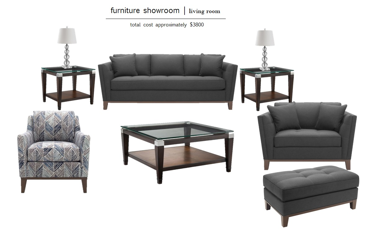SOFA  |  GRAY CHAIR  |  OTTOMAN  |  PATTERNED CHAIR  |  COFFEE TABLE  |  SIDE TABLE  |  LAMPS