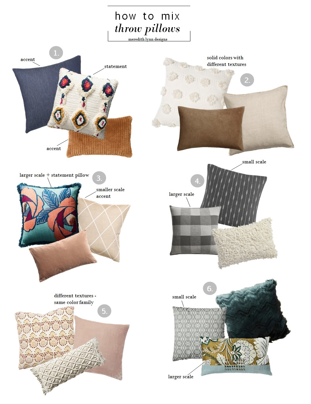 1.  whisker blue denim ;  tufted ayla pillow ;  quilted velvet oblong  | 2.  cream pom dot square ;  loki brown suede ;  washed linen cover  | 3.  sunworth silk pillow ;  glittery cushion cover ;  velvet cushion cover  | 4.  stripe polyester throw ;  victor pillow ;  toodle pillow  | 5.  ramona pillow ;  lush velvet pillow cover ;  fringed diendra pillow  | 6.  global weave throw pillow ; brocade  jacobian pillow cover ;  chevron faux fur