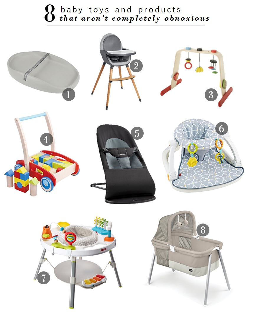 1.  Bumbo Changing Pad  | 2.  Skip Hop High Chair  | 3.  IKEA Baby Gym  | 4.  Baby Walker  | 5.  Baby Bjorn Bouncer  | 6.  Fisher Price Floor Seat  | 7.  Skip Hop Activity Center  | 8.  Chicco Bassinet