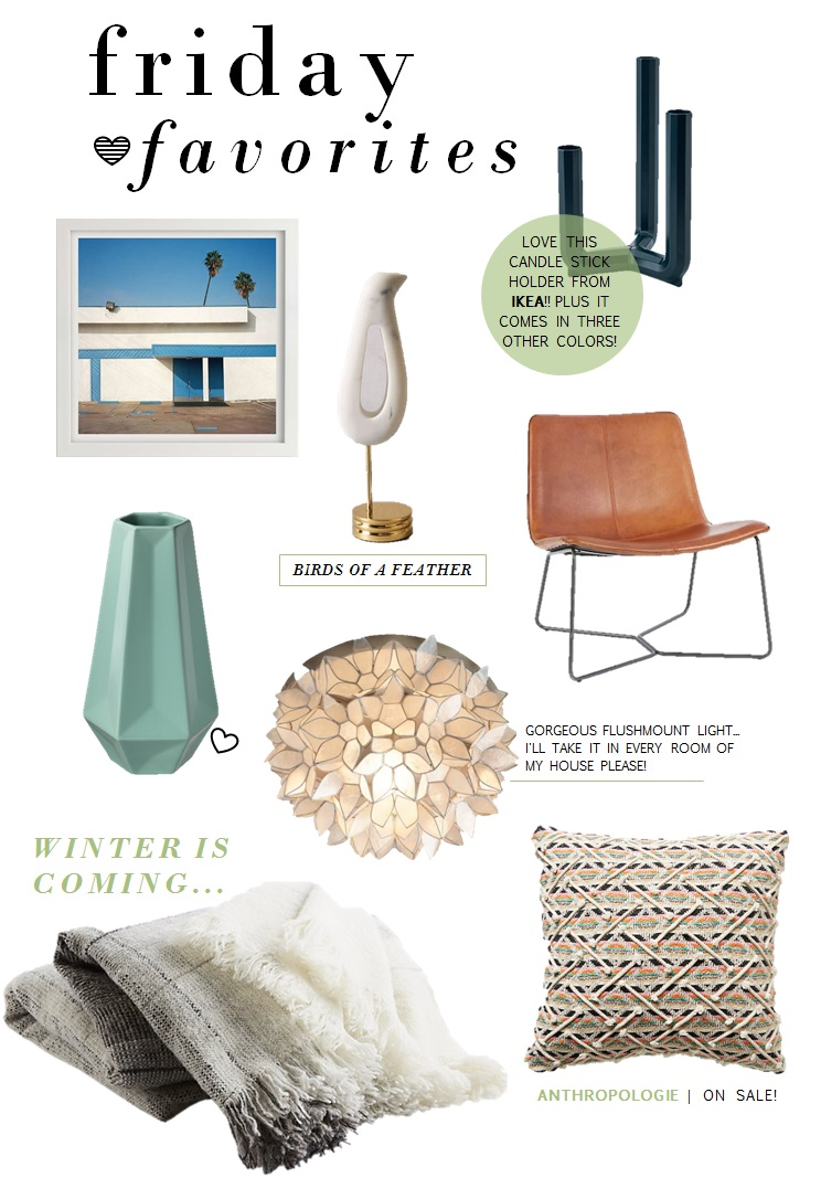 Malibu Print  |  Bird Figurine  |  Candle Stick Holder |  Vase  |  Flush Mount Light  |  Leather Chair  |  Throw Blanket  |  Throw Pillow